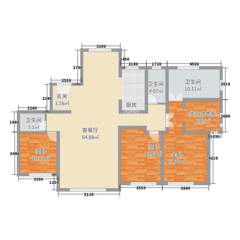 融创王府壹�三期高层3、4号楼标准层F户型3室2厅3卫1厨