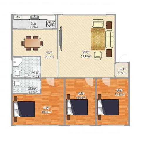 晨光山水3室2厅2卫1厨150.00㎡户型图
