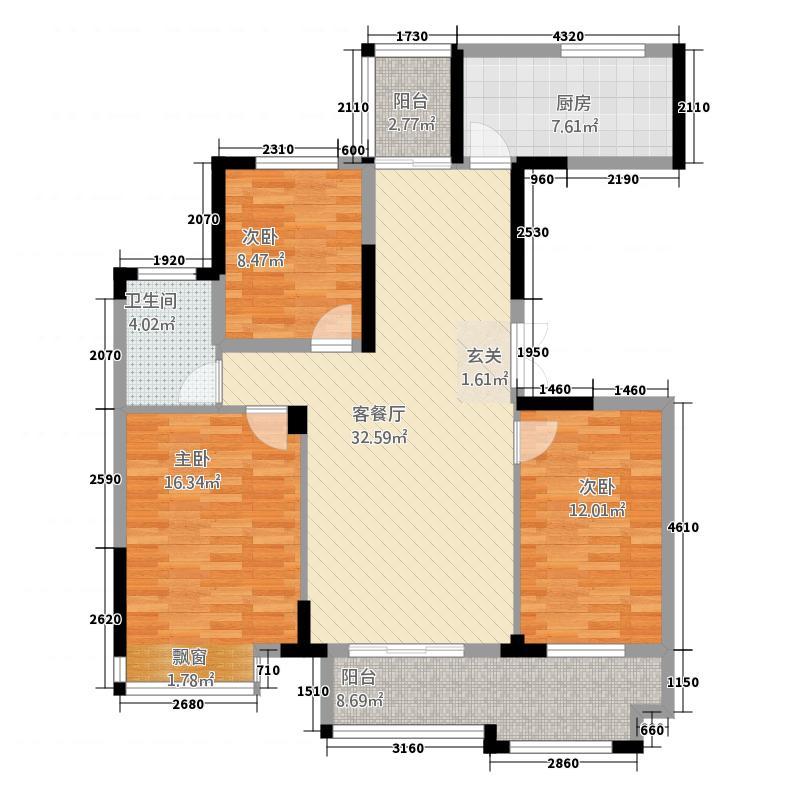 东方新天地13121.20㎡C1户型3室2厅1卫1厨