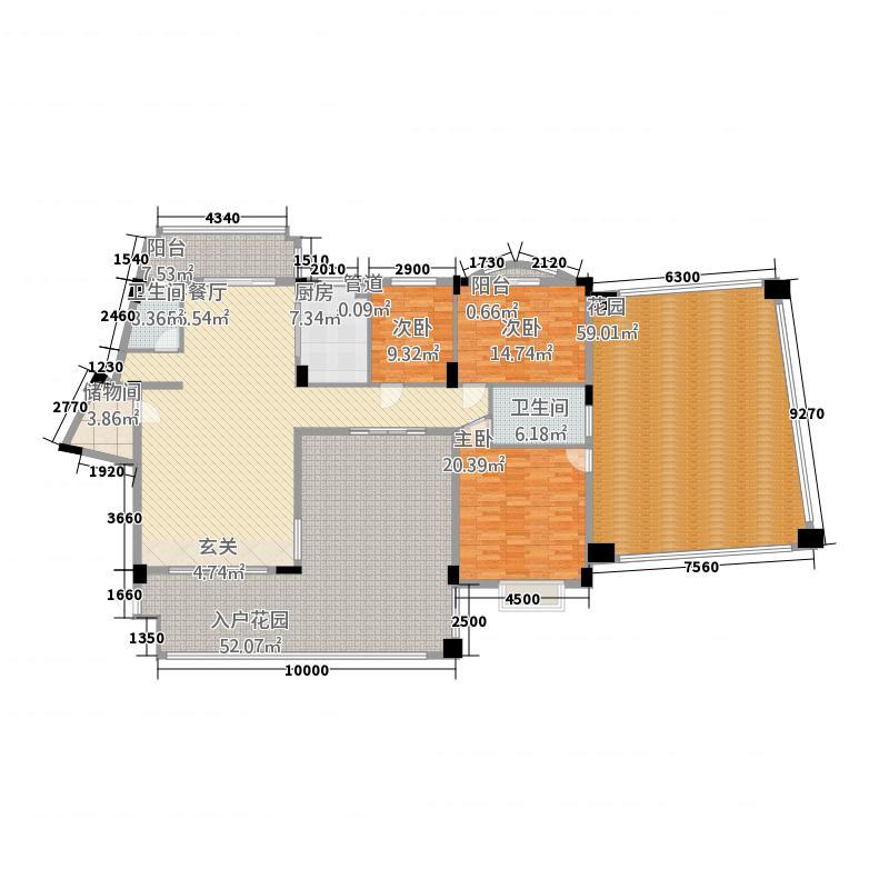 绿湖爱伦堡户型3室2厅