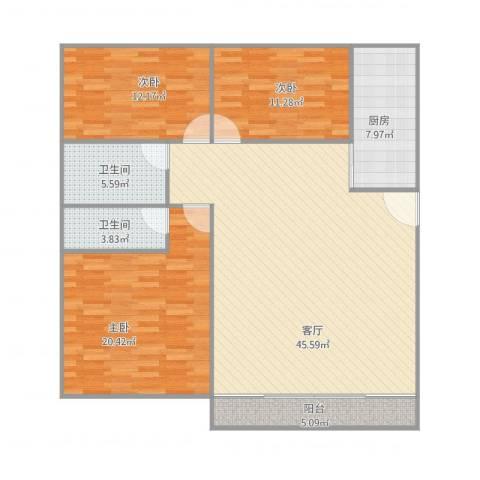 乐然居3室1厅2卫1厨149.00㎡户型图