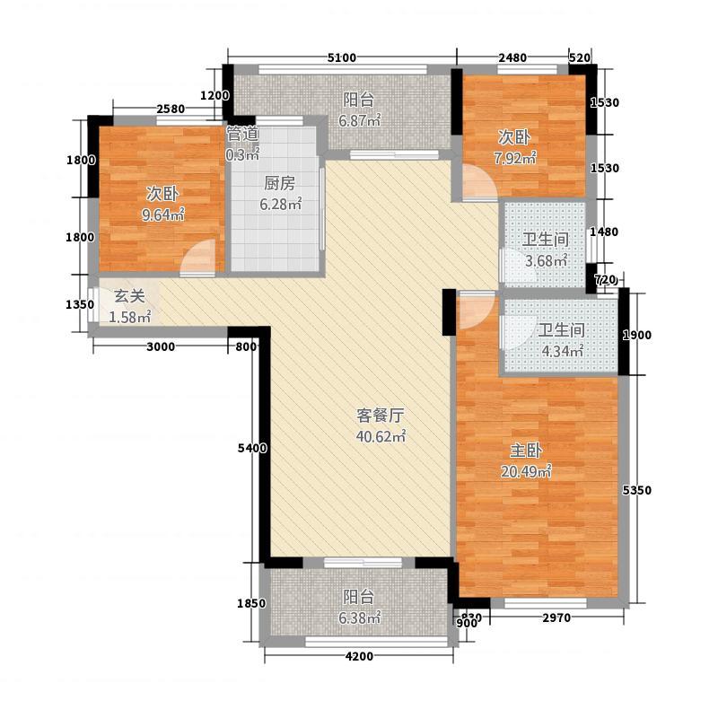 锦绣江山32138.11㎡J户型3室2厅2卫1厨