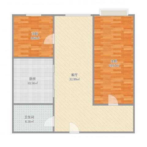 马可汇2室1厅1卫1厨107.00㎡户型图
