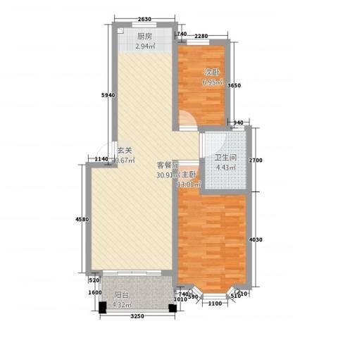 博雅景园2室1厅1卫0厨86.00㎡户型图