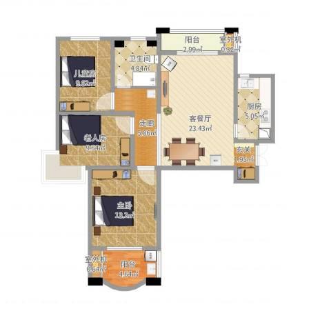 紫晶悦城3室1厅3卫1厨116.00㎡户型图