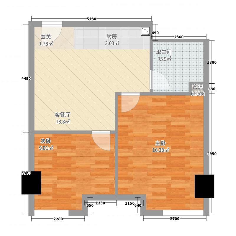 中宇国际中心66.50㎡2-19层E户型2室1厅1卫1厨