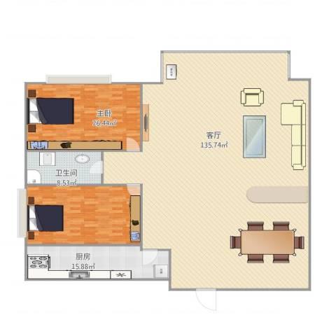 红建金城2室1厅1卫1厨272.00㎡户型图