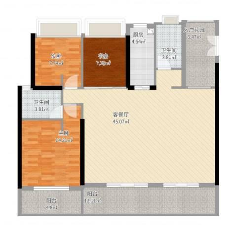 万科彩园3室1厅2卫1厨154.00㎡户型图