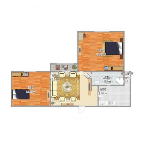 嘉城新航域2室1厅1卫1厨102.00㎡户型图