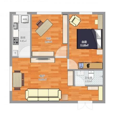 尚品精舍2室1厅1卫1厨77.00㎡户型图