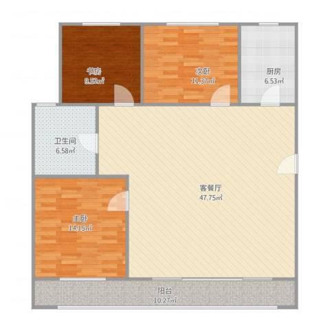 斯坦福院落2011百花深处3室1厅1卫1厨141.00㎡户型图