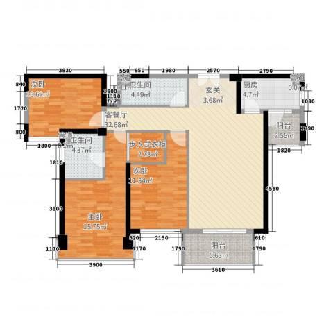 中骏天誉3室1厅2卫1厨136.00㎡户型图