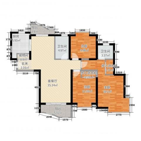 虹叶茗园3室1厅2卫1厨147.00㎡户型图