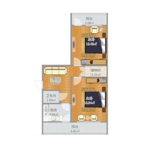 制锦市小区2室1厅1卫1厨78.00㎡户型图