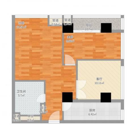 城市之光国际公寓2室1厅1卫1厨90.00㎡户型图