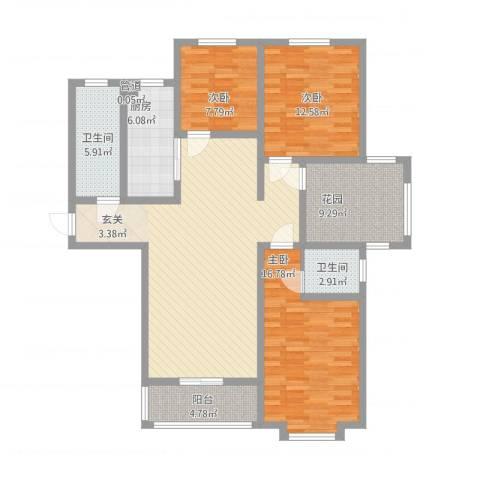 上城东郡3室1厅2卫1厨148.00㎡户型图