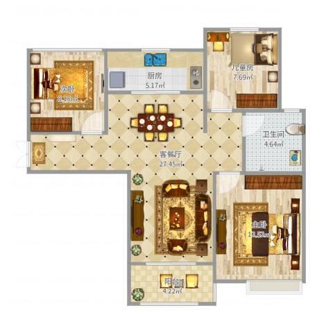 幸福里程3室1厅1卫1厨95.00㎡户型图