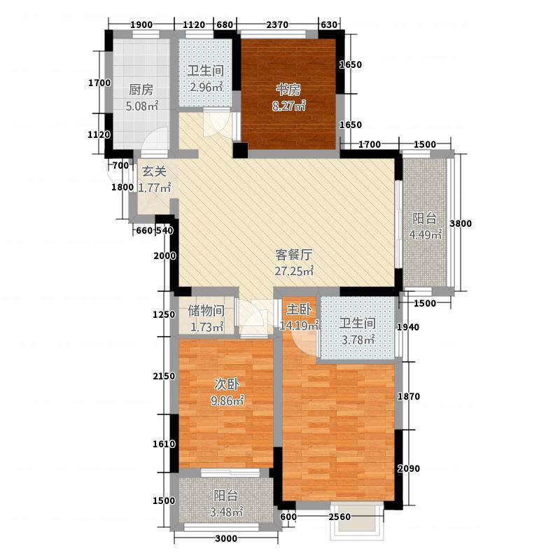 一涵・温莎公馆18.58㎡D5--2户型3室2厅1卫1厨