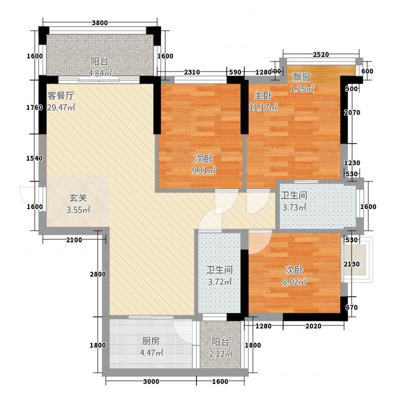 客家新世界13.00㎡QQ截图20150212200602户型3室2厅2卫