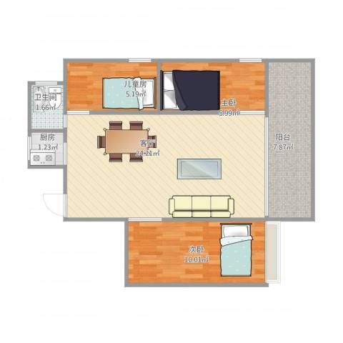 黄岐第一城3室1厅1卫1厨76.00㎡户型图