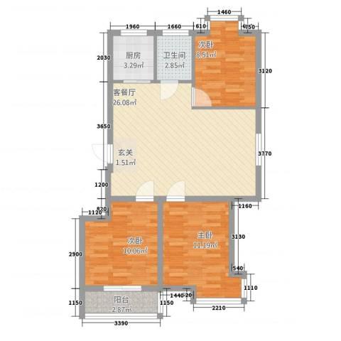 东山花园3室1厅1卫1厨64.85㎡户型图