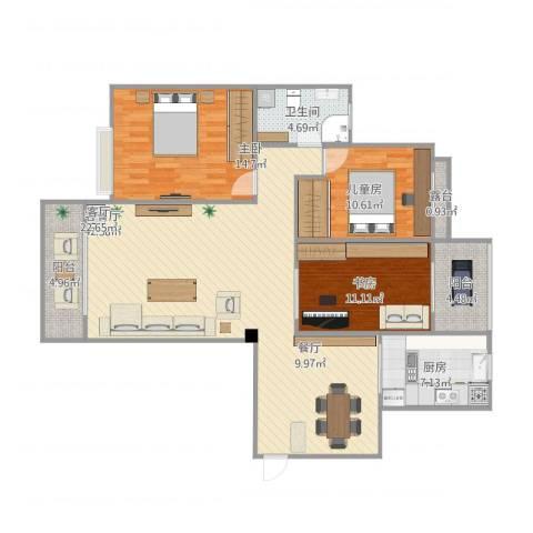 亲海园3室1厅1卫1厨136.00㎡户型图