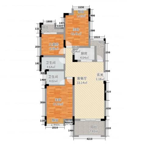 竣尊・御景国际3室1厅2卫1厨97.20㎡户型图
