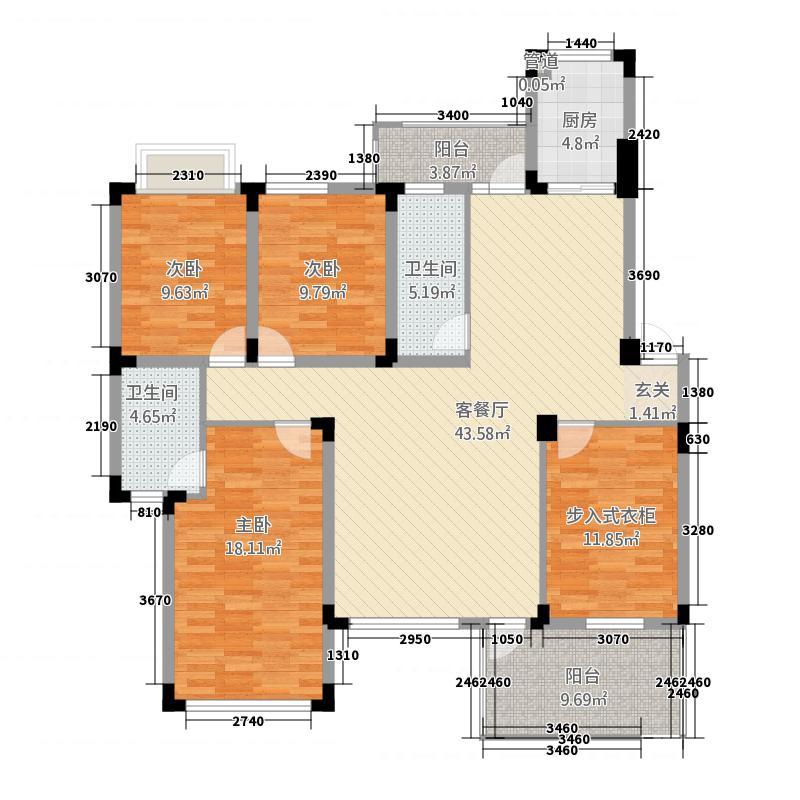 金鼎名城23157.72㎡H2户型3室2厅2卫1厨