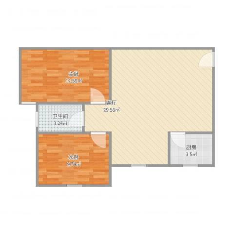 岐丰广场2室1厅1卫1厨78.00㎡户型图