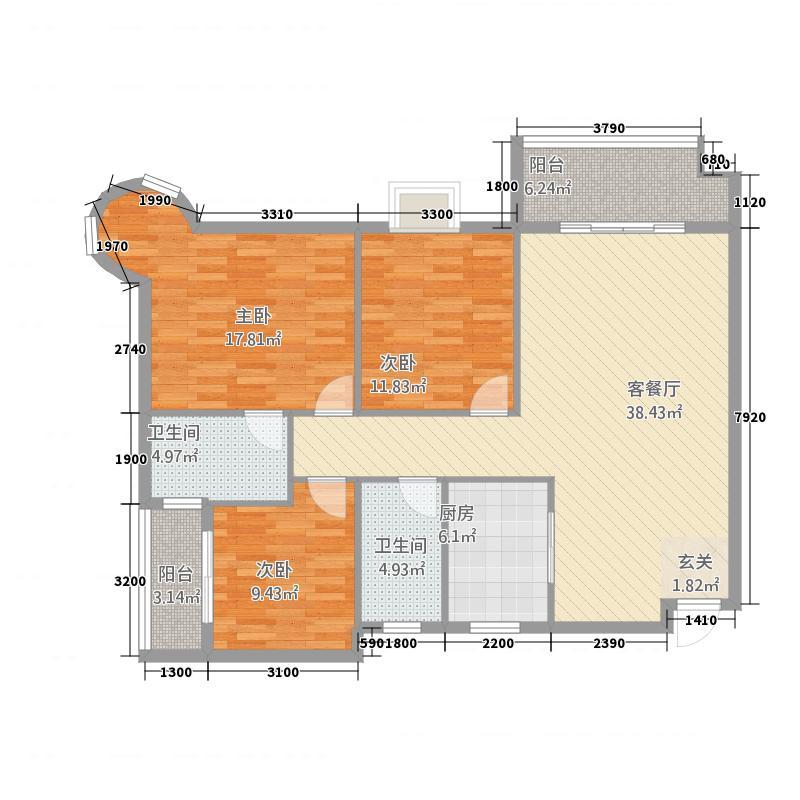 金地明珠3123.63㎡户型3室2厅2卫1厨