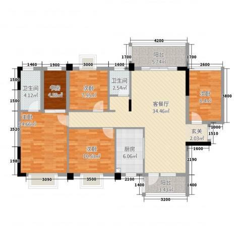 祥和新城5室1厅2卫1厨116.91㎡户型图
