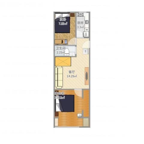 幸福东区1室1厅1卫1厨55.00㎡户型图