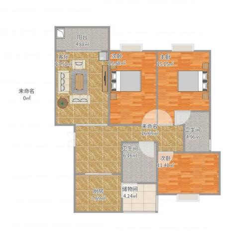 南州花园四期3室1厅3卫1厨140.00㎡户型图