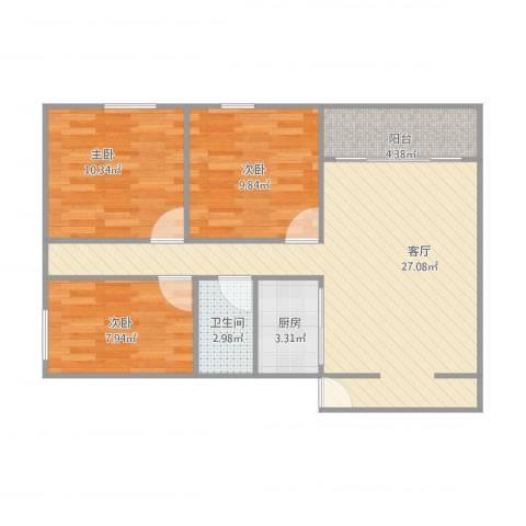 怡佳名苑7013室1厅1卫1厨90.00㎡户型图