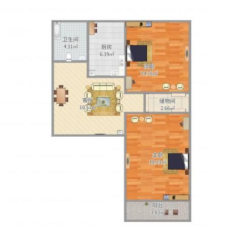 凤凰山路单位宿舍2室1厅1卫1厨90.00㎡户型图