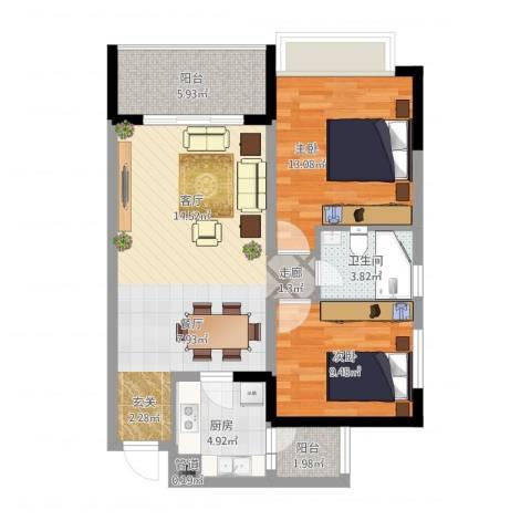 永川御珑山2室1厅1卫1厨93.00㎡户型图