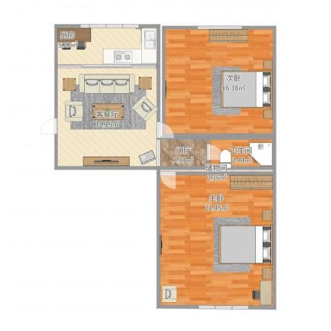 绿香花园2室1厅1卫1厨84.00㎡户型图