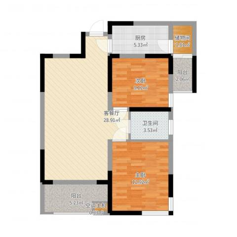 融侨城2室1厅1卫1厨100.00㎡户型图