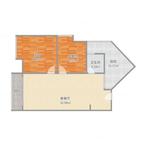 金城源山2-10-22室1厅1卫1厨102.00㎡户型图