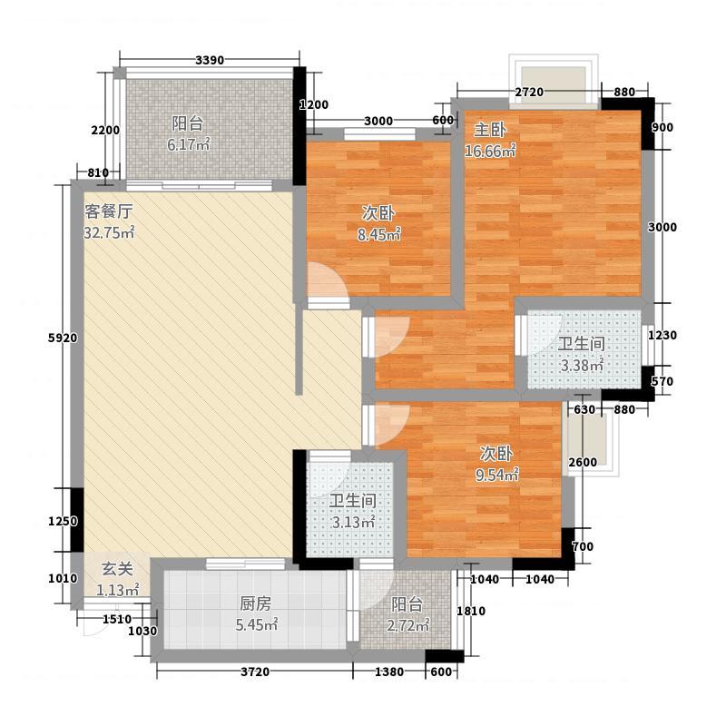 金沙湾213113.63㎡F2-01_副本户型3室2厅2卫1厨