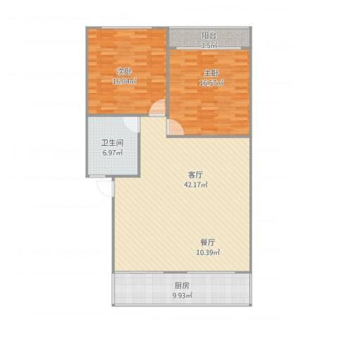 华彩楼2室1厅1卫1厨126.00㎡户型图