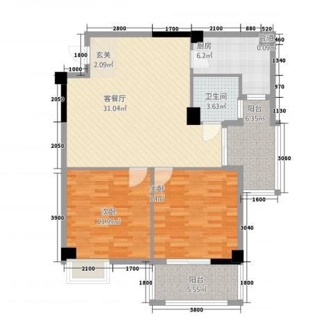 富安・森活印象2室1厅1卫1厨114.00㎡户型图