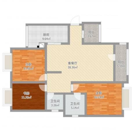 恒产・城市今典3室1厅2卫1厨154.00㎡户型图