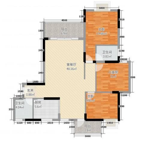 全顺・曼弄枫情3室1厅2卫1厨99.83㎡户型图