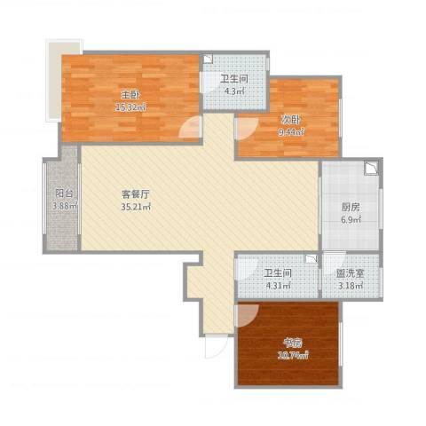 美的城3室2厅2卫1厨125.00㎡户型图