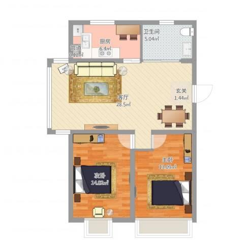 鸿飞逸景2室1厅2卫1厨95.00㎡户型图