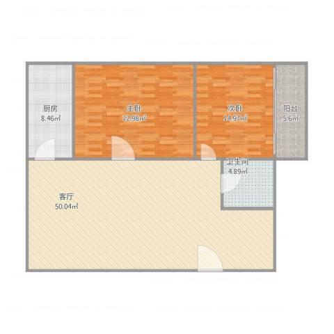 交警宿舍2室1厅1卫1厨141.00㎡户型图
