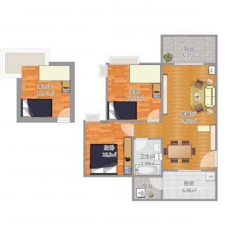 广州亚运城天誉2室1厅1卫1厨104.00㎡户型图