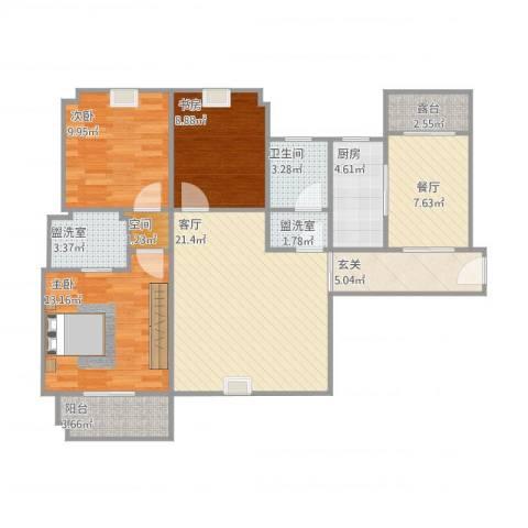 绿苑水岸名筑3室4厅1卫1厨118.00㎡户型图