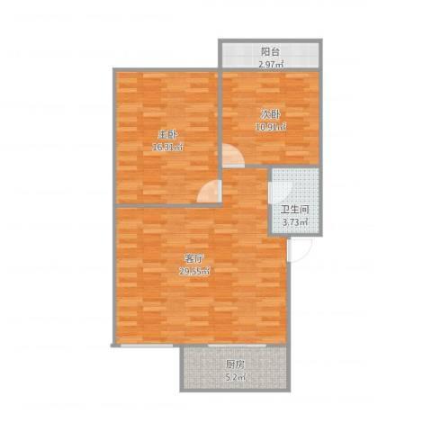 泺都小区2室1厅1卫1厨92.00㎡户型图